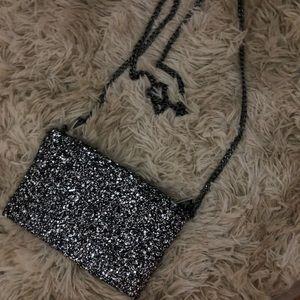 J Crew black/silver glitter purse w/ silver chain